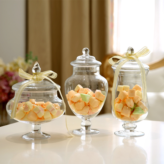 3pcsset transparent lid storage bottle glass candy jars wedding 3pcsset transparent lid storage bottle glass candy jars wedding decoration canister mason jar jars junglespirit Gallery