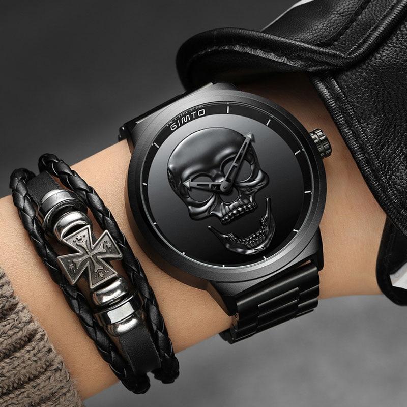2018 Cool Punk 3D Skull hombre reloj marca GIMTO lujo acero cuarzo hombre relojes impermeables Retro moda Oro Negro reloj