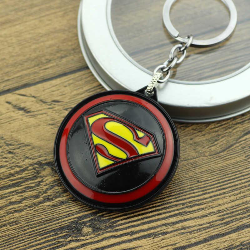 Super hero Superman Logotipo Chaveiro Novidade Rodada Rotativo Super hero S Bugigangas Chaveiro Para As Mulheres Homens Moda Cadeia Chave Do Carro