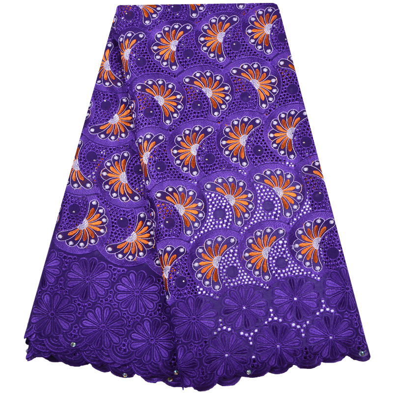 Purple Color Nigerian Lace fabrics 2018 African Swiss Voile Lace High Quality Swiss Voile Lace In