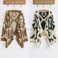 Hot Sale Women Irregular Hem Loose Cape Boho Aztec Chic Cardigan Knitted Sweater Jacket Coat Outwear Free Shipping