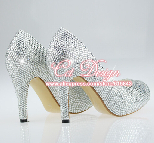 New Fashion PeepToe Low High Heels Silver Crystals Wedding Bling Bridal Shoes Customized