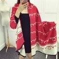Мода кашемировый шарф женщин бренд дизайнер шарф люксовый бренд шали и шарфы зима теплая двусторонняя шерсть пашмины мыс