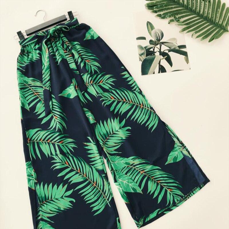 AreMoMuWha New Summer Bohemian Flamingo Print Wide Leg Pants Women Sashes Split High Waist Trouser Holiday Besch Leggings Mh050 3
