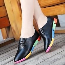 Plus Size 35-44 2019 Spring Autumn Women Shoes Cow Leather Shoes Woman Lace-Up Female Flats Pointed Toe Ladies Oxfords Plus