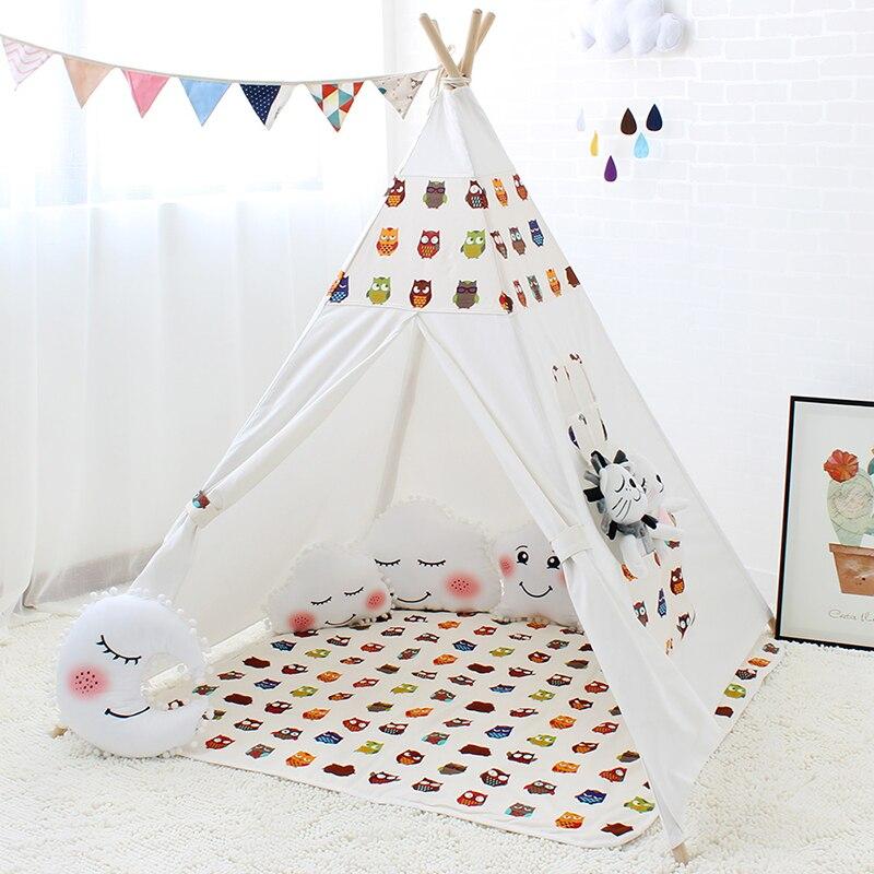 Indien enfants tente jouet dessin animé hibou intérieur maison de jeu pour bébé chambre toile Tipi Wigwam tente pour enfants Tipi poteau en bois Tipi