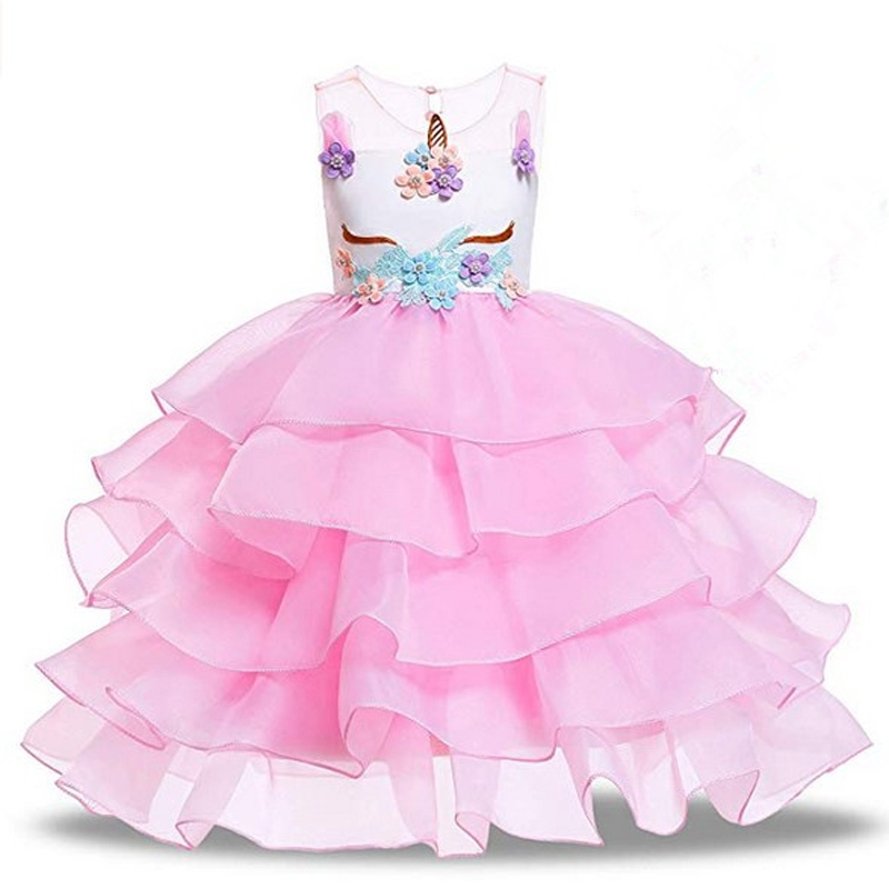 2019 Princess Party dress for Girl Unicorn Party Dress Ruffles Tulle Birthday Party Wedding Princess Costume Cake Tutu Dress in Dresses from Mother Kids