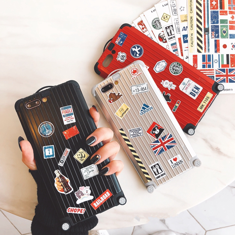 Super cute Japan Korean travel bag handbag Luggage DIY lovers letters hard + soft phone case for iphone 6 6s 7 8 plus X cover