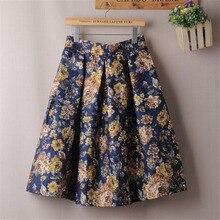 Женская набивная юбка средней посадки с завышенной талией в стиле ретро с большой бронзовой юбкой весна/лето L306