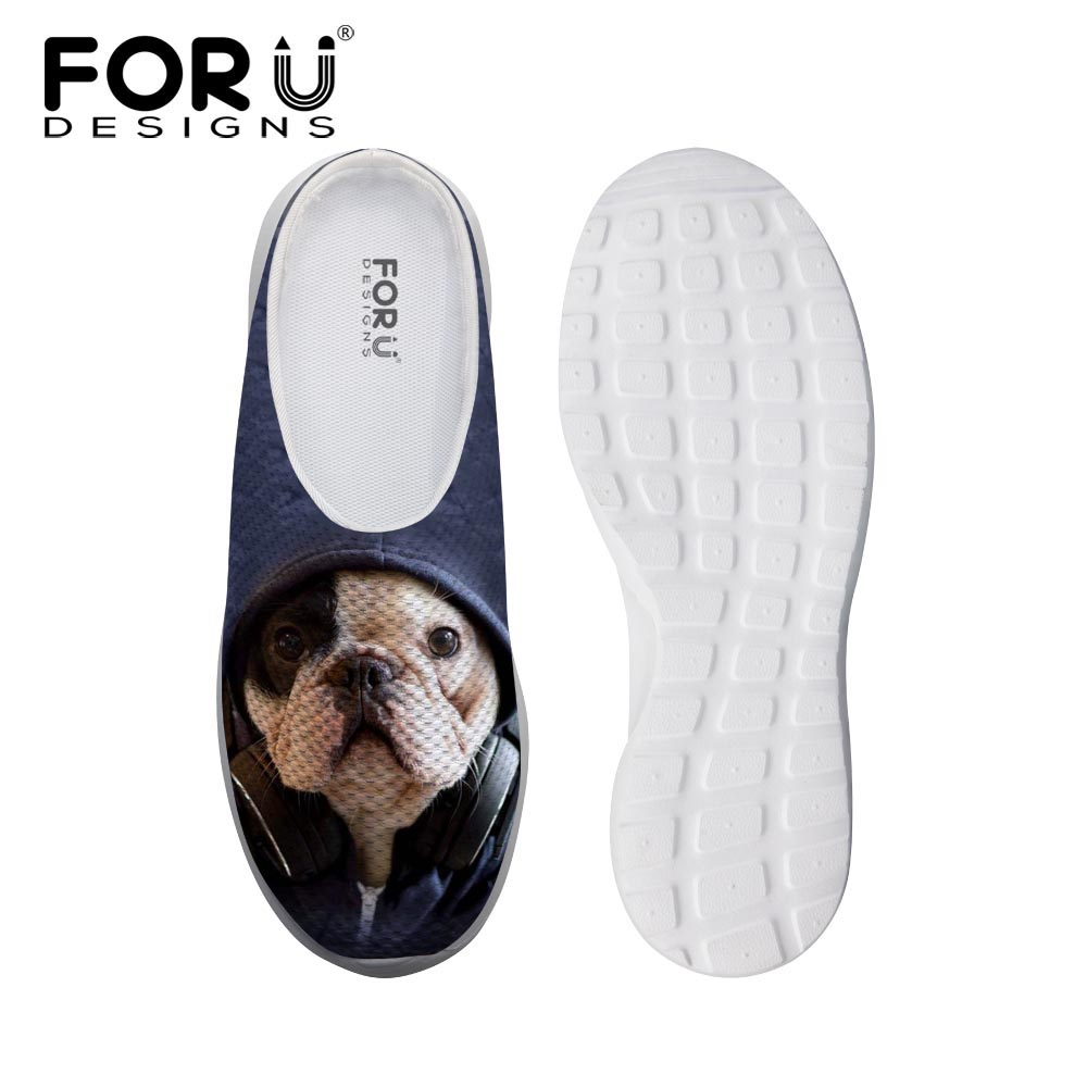 FORUDESIGNS Cute French Bulldog Pet Dog Pug Sandals Fashion Women Summer Beach Water Mesh Shoes Female 3D Animal Mules Slip-On