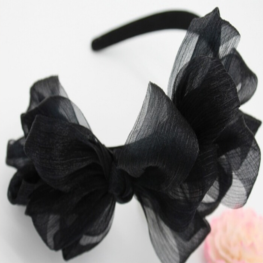 Vintage hair accessory holder - 1 X Cc Brand Style Vintage Lace Big Bow Hairbands Layers Veil Jewelry Headband Holder Hair Accessories Girls Cute Headwear