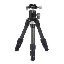 KAKAFOTO KP-C223+KB-LH30PII Carbon Fiber Tripod Adjustable Table Desktop Mini Foldable Portable Compact Travel Monopod Tripode