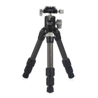 KAKAFOTO KP C223+KB LH30PII Carbon Fiber Tripod Adjustable Table Desktop Mini Foldable Portable Compact Travel Monopod Tripode