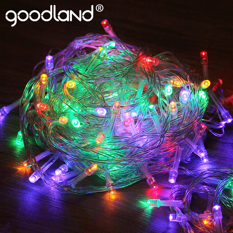 цена Goodland Garland 10M LED String Lights 110V 220V Christmas Light String Outdoor Fairy Lights Waterproof For Party Decoration