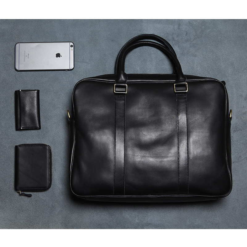 LANSPACE men s leather briefcase brand high quality cow leather business handbag top laptop bag