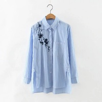 New Casual Women Embroidered Blouses Cotton Blue Striped Long Sleeve Shirt Turn Down Collar Camisas Femininas