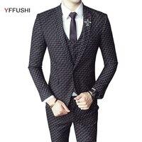 Yffushi Новое поступление мужской костюм Для мужчин комплект из 3 предметов черный/темно синий в клетку Костюмы смокинг Homme брак Уход за лошадьм