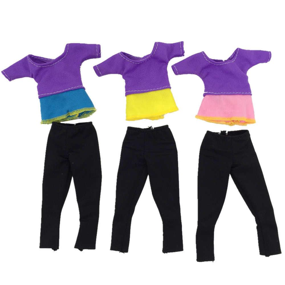NK אחד Pcs החדש בובת יוגה בגדי אופנה יוגה אפוד & מכנסיים מכנסיים עבור ברבי בובת אביזרי מכירה לוהטת בעבודת יד שמלות