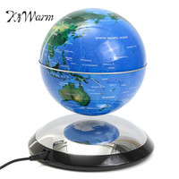 KiWarm Excellent 6 Inch Magnetic Levitation Floating Globe World Map Blue Birthday Gift Decroration Home Office