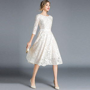 Image 5 - Borisovich kadınlar rahat elbise yeni marka 2018 sonbahar moda oyma dantel büyük salıncak zarif bayanlar akşam parti elbiseler M843