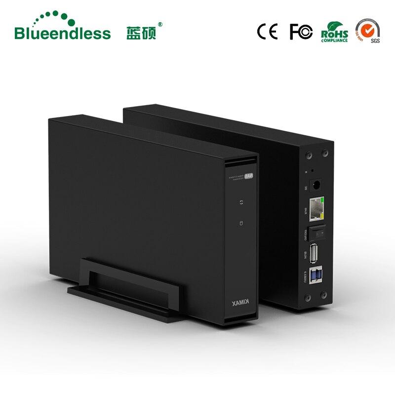 NAS sem fio Blueendless RJ45 de armazenamento hdd 3.5 ''sata disco rígido caso USB 3.0 pc