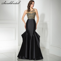 Sexy Long Evening Dresses 2017 with Mermaid jewel Sexy Back Hollow Zipper Floor Length Beading Crystal Robe De Soiree LSX320