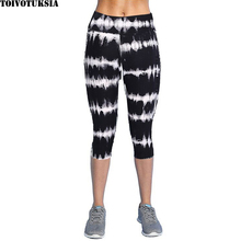Summer Plus Size Casual Women Leggings Elastic Slim Printed Capris Trousers Pants