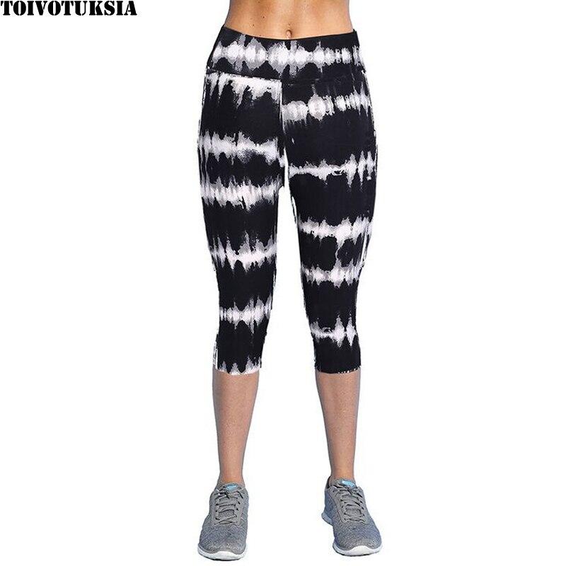 TOIVOTUKSIA Summer Plus Size Casual Women   Leggings   Elastic Slim Printed Capris   Leggings   Trousers Plus Size Women Pants