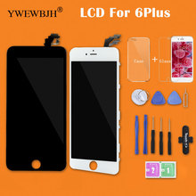 YWEWBJH 10 PCS Test AAA  For iPhone 6 Plus Screen Full Assembly With Camera Without Home Button Display Replacement Black White