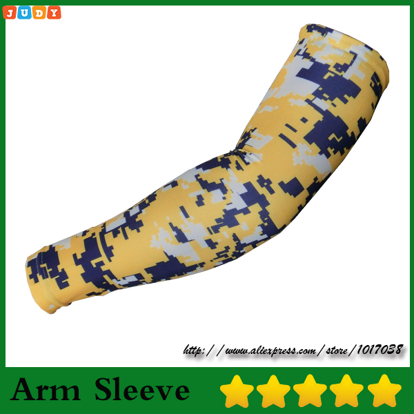 Wholesale 2016 New Youth Yellow Royal Blue & White Camo Compression Arm Sleeve Fast Ship Ample Supply And Prompt Delivery