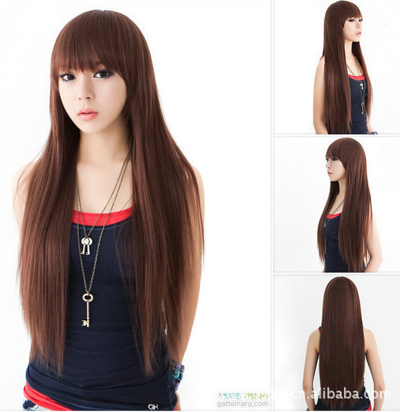 2014 New Design Straight Dark Brown Long Hair Wigs For