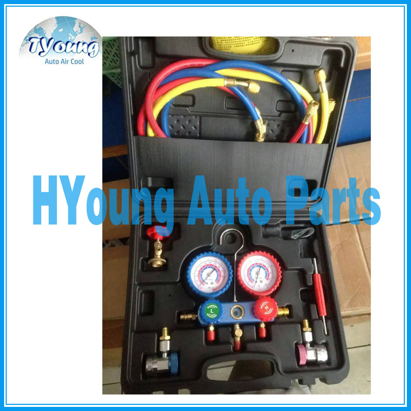 car a/c system repair tool box for manifold gauge set r134a R22 R12 R410a,including Coupler Adapters & 1.5mm hose