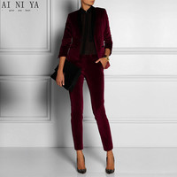 Women Pant Suits Wine Red Velvet Women Ladies Business Office Tuxedos Formal Work Wear New Fashion Suits