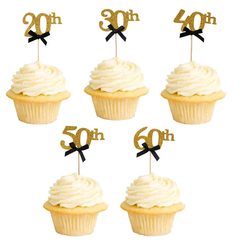 30th Birthday Party Decoration Gold Cupcake Cake Topper 20th 40th 50th 60th Decorations Adult