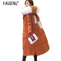 Большие размеры женские парки зимняя куртка пальто Высокое качество женские корейские сращивания толстовка с меховым воротником пуховое х