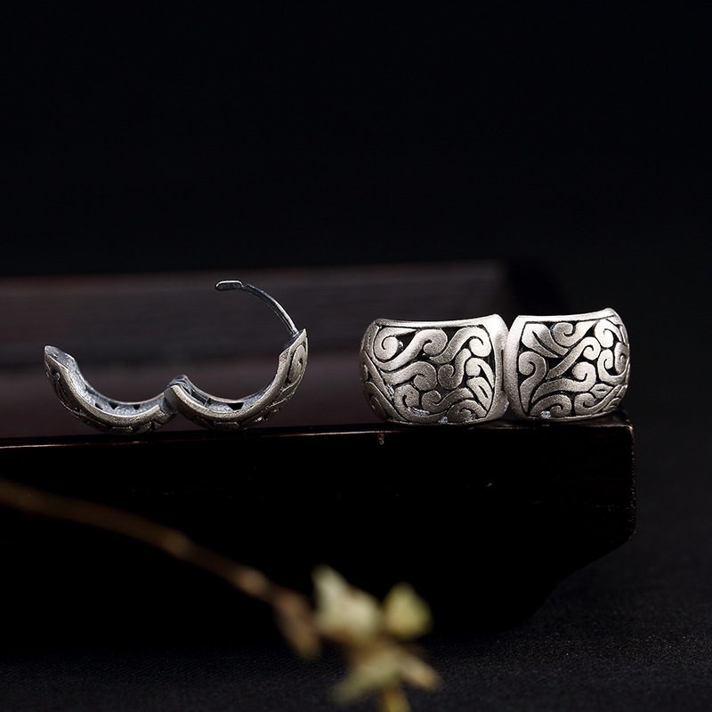 Image 4 - BALMORA Real 990 Pure Silver Hollow Clouds Ethnic Stud Earrings for Women Mother Gift Vintage Elegant Fashion Jewelry BrincosStud Earrings   -