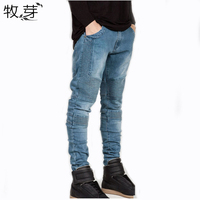 Mens Skinny Jeans Men 2016 Runway Distressed Slim Elastic Jeans Denim Biker Jeans Hiphop Pants Washed