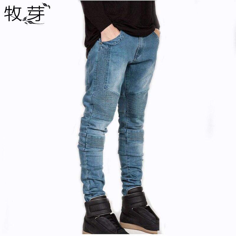 2016 Mens Skinny jeans men Runway Distre