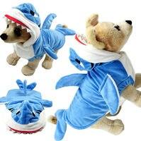 Nhỏ Puppy Dog Pet Phim Hoạt Hình Cá Mập Hoodie Costume Quần Áo Mùa Đông Áo Khoác Ấm Coat Phục XS-XXL Màu Xanh