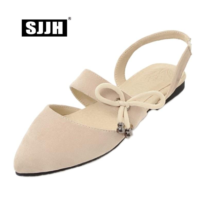 SJJH Sandals Shoes Footwear Flat-Heels Pointed-Toe Comfortable Elegant Woman Solid Casual