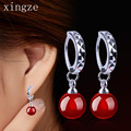 Fashion silver plated jewelry natural agate silver earrings long tassel earrings red and black women's ear jewelry wholesale