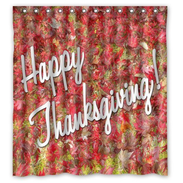 Modern Fashion Happy Thanksgiving Day Harvest Festival Shower Curtain Waterproof Polyester Bath Rings Included