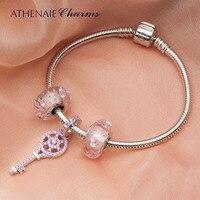 ATHENAIE 925 Silver Key Pendant Charm Bracelets & Bangle With Pink Heart CZ Beads For Women DIY Jewelry