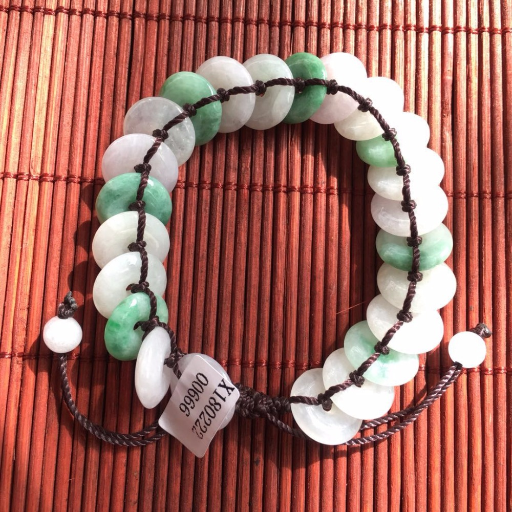 Chinese Hand-woven Red Hand Rope Natural Jade Peace Buckle Adjustable Bracelet