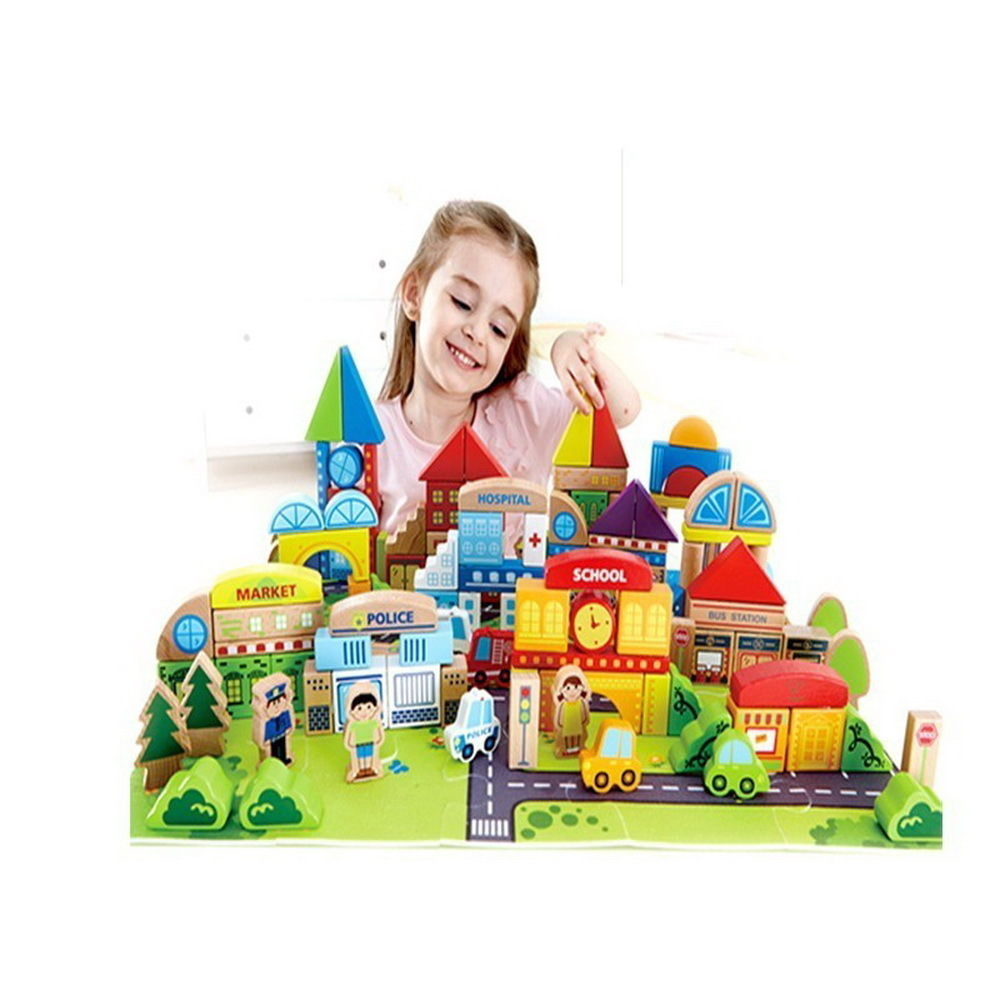 City Wooden Building toy Block buildings Baby Oxyphylla Toys for children 1-2-3-6 Life Child Male Girl ENLIGHTEN blocks heroes baby toys 1 10cm blocks digital stick wooden toys child educational toys teaching montessori math toy