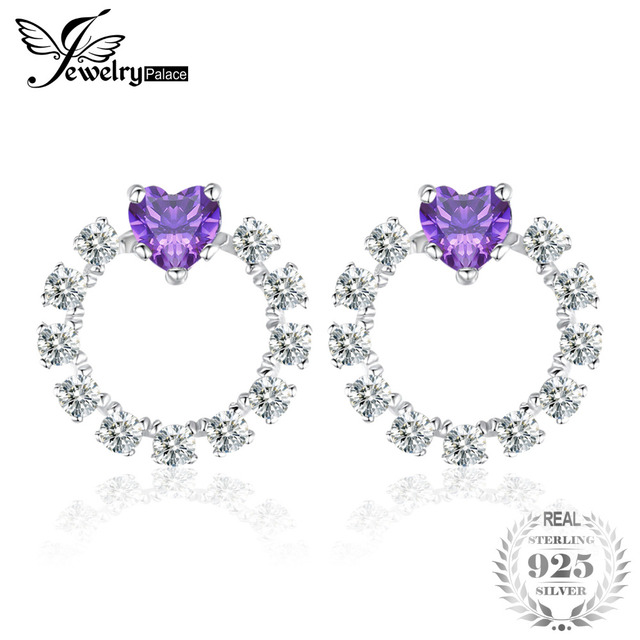 JewelryPalace Love Heart 1.1ct Created Alexandrite Sapphire Stud Earrings 925 St