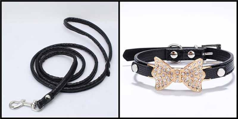 SYDZSW PU Leather Dog Collars & Leads Puppy Pet Leash Luxury Pet Products Diamond Bow Tie Chihuahua Collar Necklace for Cats Dogs20