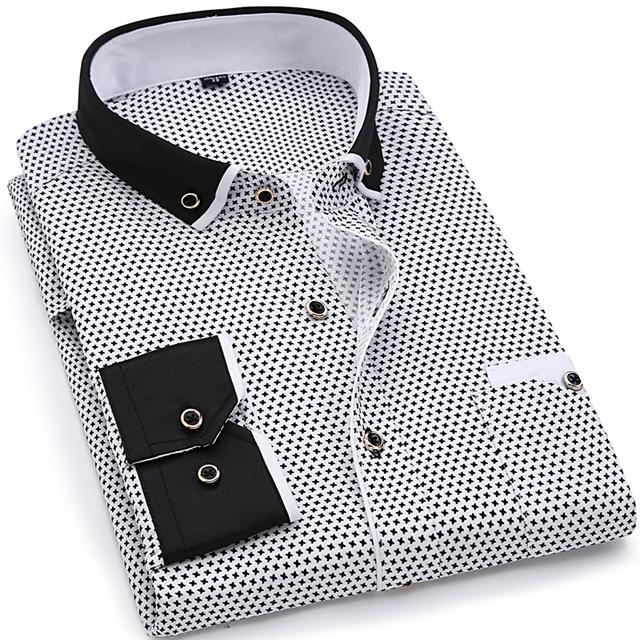 Fashion Print Casual Men Long Sleeve Shirt Stitching Fashion Pocket Design Fabric Soft Comfortable Men Dress Slim Fit Style