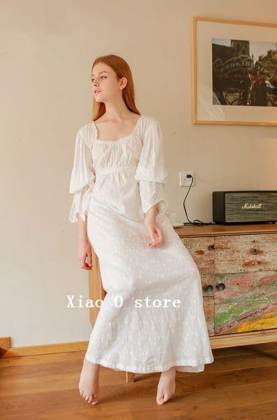 Otoño largo camisón bordado de Las Mujeres vestido de casa camisón de 100% algodón ropa de noche largo de La Vendimia