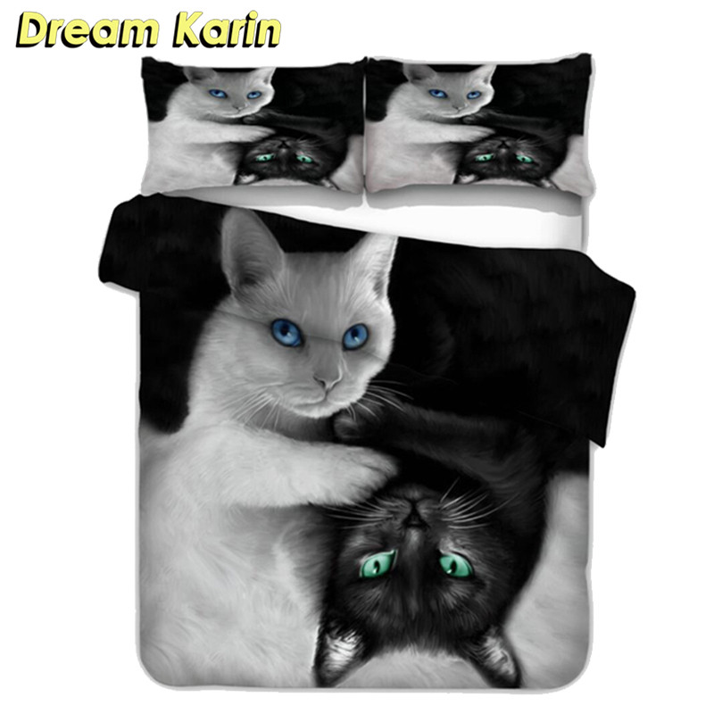 3D Duvet Covers With Pillowcases Print Black&white Cat Bedding Sets 2/3 Pcs Single Twin Double Queen King Size Bed Linens Quilts